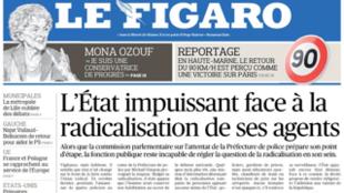 Capa do jornal francês Le Figaro desta terça-feira, 4 de fevereiro de 2020.