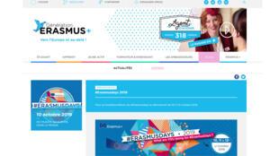 La page d'accueil de Génération Erasmus.