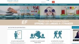 La page d'accueil du site internet expatvalue.com.
