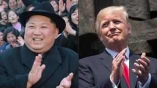 Lãnh đạo Bắc Triều Tiên Kim Jong Un (T) và tổng thống Mỹ Donald Trump (Ảnh ghép của AFP)