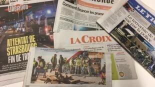 Primeiras páginas dos jornais franceses de 14 de dezembro de 2018