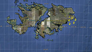 El Gobierno argentino difundió el mapa de las islas donde detalla el lugar del supuesto emplazamiento de los misiles.