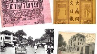 (Từ trái sang phải và từ trên xuống dưới) Bìa của tờ Lục Tỉnh Tân Văn, Đại Nam Đồng Văn Nhật Báo, tòa soạn Lục Tỉnh Tân Văn (Sài Gòn) và trụ sở Avenir du Tonkin (Hà Nội).