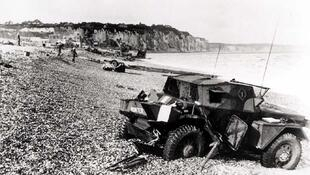 Dieppe's pebble beach and cliff immediately following the raid on 19 August 1942.