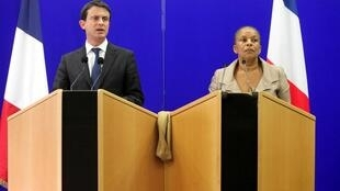 French Interior Minister Manuel Valls and Justice Minister Christiane Taubira
