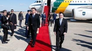 Desembarque do presidente Jair Bolsonaro na Base Aérea de Andrews, perto de Washington, nos Estados Unidos.