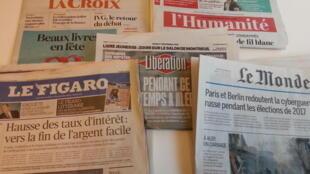 Primeiras páginas dos jornais franceses de 01 de dezembro de 2016