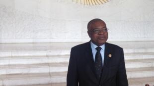 Manuel Salvador dos Ramos, ministro são-tomense dos Negócios Estrangeiros, na sede da União Africana 31/01/16