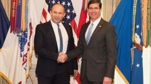 نتفالی بنت و مارک اسپر وزرای دفاع اسرائیل و آمریکا در واشنگتن در ششم فوریه.
