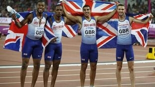 The British relay team of (left to right) Nethaneel Mitchell-Blake, CJ Ujah, Adam Gemili and Danny Talbot won a surprise gold in the 4x100m relay.