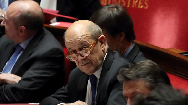 French Foreign Affairs Minister Jean-Yves Le Drian attends the questions to the government session at the National Assembly in Paris, France, February 20, 2018.