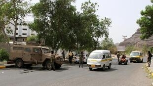 Un «checkpoint» tenu par les forces séparatistes du sud à Aden, au Yémen, le 12 août.