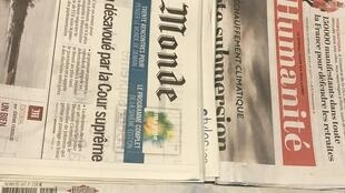 Primeiras páginais jornais franceses de 25/09/2019