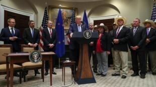 Tổng thống Mỹ Donald Trump thông báo thỏa thuận về thịt bò đạt được với EU, tại Nhà Trắng, Washington, ngày 02/08/2019.