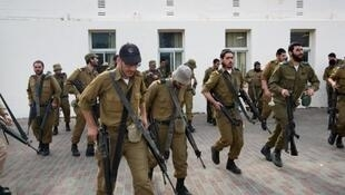 Israeli soldiers during their mandatory military service