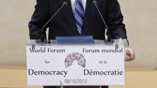 O secretário-geral da ONU, Ban Ki-moon, abriu nesta segunda-feira o primeiro Fórum Mundial da Democracia em Estrasburgo, no leste da França.