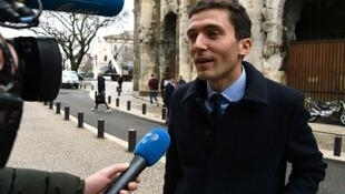 Julien Sanchez speaks during an interview as he arrives for his discrimination trial in Nimes on January 7, 2016.