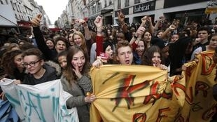 French high school students attend a demonstration in Paris 17 October 2013 to protest against the expulsion of 15-year-old Kosovar schoolgirl Leonarda Dibrani