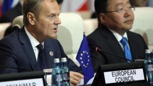 Chủ tịch Hội Đồng Châu Âu Donald Tusk (T) phát biểu trong phiên khai mạc thượng đỉnh Á-Âu (ASEM) lần thứ 11 tại Mông Cổ, ngày 15/07/2016.