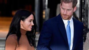 O princípe Harry e sua esposa, Meghan, duquesa de Sussex, em 7 de janeiro, em Londres