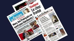 Capa dos jornais franceses Le Parisien, Libération e Les Echos desta quinta-feira, 21