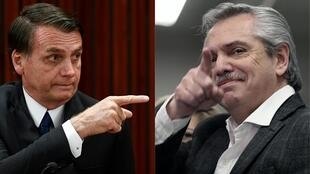 Fotomontagem do presidente brasileiro, Jair Bolsonaro, ao lado do presidente argentino, Alberto Fernández.