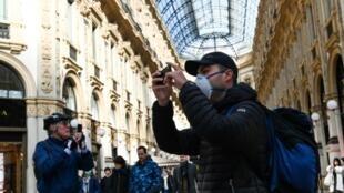 意大利米蘭民眾口罩旅遊