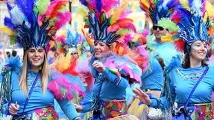 Défilé des participants costumés au carnaval de Rijeka, l'un des plus grands carnavals d'Europe, le 23 février 2020.