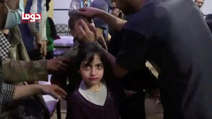 A child is treated in a hospital in Douma, eastern Ghouta in Syria, after what a Syria medical relief group claims was a suspected chemical attack April, 7, 2018. Picture taken April 7, 2018