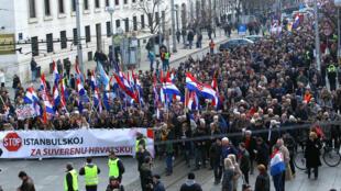 Mars 2018: manifestation à Zagreb contre la Convention d'Istanbul de lutte contre la violence à l'égard des femmes et la violence domestique.