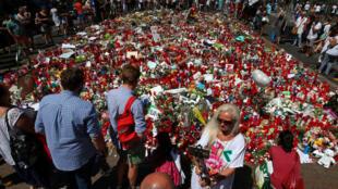 Memorial improvisado em Las Ramblas, em 22 de agosto de 2017, em homenagem às vítimas dos atentados