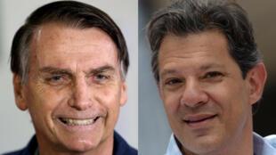 Candidatos à segunda volta das eleições presidenciais brasileiras, Jair Bolsonaro de extrema direita e Fernando Haddad do Partido dos Trabalhadores