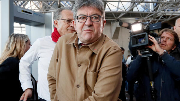 French leftist leader Jean-Luc Melenchon at the courthouse during his trial for intimidating officials in September. The courthouse handed Mélenchon a three-month suspended sentence and 8,000-euro fine on Monday.