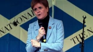 Scottish prime minister Nicola Sturgeon speaking at a meeting in Glasgow in favour of Scottish independence.