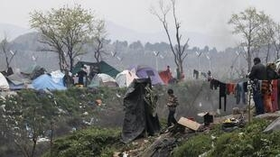 Makeshift camp for migrants at the Greek-Macedonian border, near the village of Idomeni