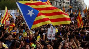 Học sinh sinh viên biểu tình ở Barcelona, Tây Ban Nha, ủng hộ trưng cầu dân ý về độc lập của Catalunya, ngày 28/09/2017