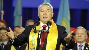 """Kazakh President Nursultan Nazarbayev addresses supporters during the """"Forward, together with the leader"""" forum in Astana Monday"""