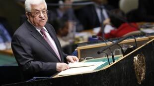 O presidente palestino Mahmoud Abbas discursa na assembleia geral da ONU, na quinta-feira (29).