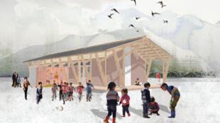 """Una escuela para todos"", proyecto de Léa Camoin-Olivi, Mickaël Nadot, Gaëlle Bogas, Maxime Turmel, estudiantes de la ENSA Marseille, ganadores del concurso IMPACT edición 2016-2017."