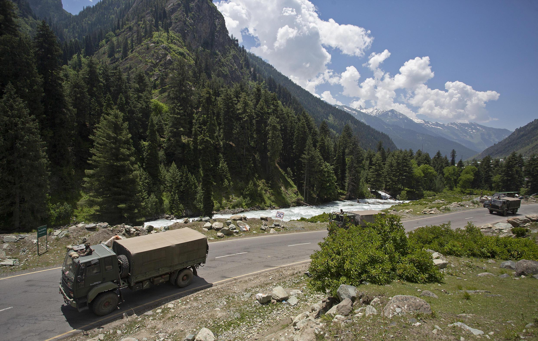 An Indian army convoy makes way towards Leh, bordering China, in Gagangir, 17 June 2020.