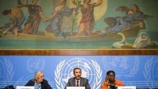 Membros da Comissão de Inquérito da ONU, Francoise Hampson, Fatsah Ouguergouz e Reine Alapini-Gansou. 4 de Setembro de 2017. Genebra.