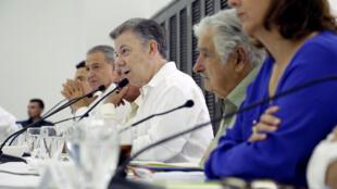 Juan Manuel Santos, Shugaban kasar mai barin gado a yayinda yake jawabi zuwa yan kasar dangane da zaben kasar