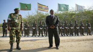 UN Special Representative for Somalia Augustine Mahiga addresses Amisom troops in Mogadishu, 24 January 2012