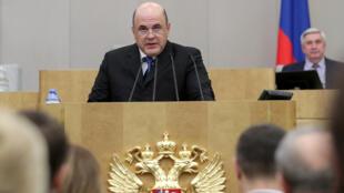 Le nouveau Premier ministre russe Mikhaïl Michoustine a délivré un bref discours devant la Douma, jeudi 16 janvier 2020.