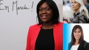Candidatas às legislativas pelo partido LERM: a advogada Laeticia Avia (esq.) concorre em Paris, Marie Sara (no alto) desafia um candidato de extrema-direita no sul e Paula Forteza (baixo) concorre pela região da América Latina.