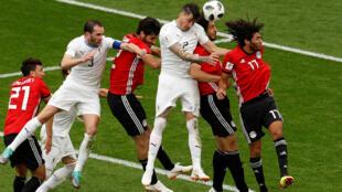 Le match Egypte - Uruguay, lors du Mondial 2018 en Russie, le 15 juin 2018.