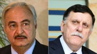 O chefe do exército nacional da Líbia, Khalifa Haftar (esq.)e o primeiro-ministro da FDA, Fayez al-Sarraj, participam de encontro em Paris