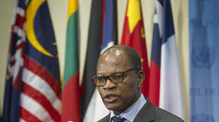Mohammed Ibn Chambas speaking to journalists at the United Nations, New York, 8 January 2015
