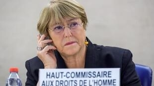 A Alta Comissária das Nações Unidas para os Direitos Humanos, Michelle Bachelet, participa na sessão de abertura de um Conselho dos Direitos Humanos das Nações Unidas em Genebra. 09/09/19