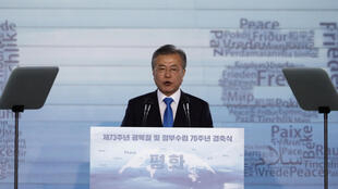 South Korean President Moon Jae-in delivers a speech during a ceremony marking the 73rd anniversary of liberation from Japan's 1910-45 colonial rule following the end of World War Two, on Liberation Day in Seoul, South Korea, August 15, 2018.